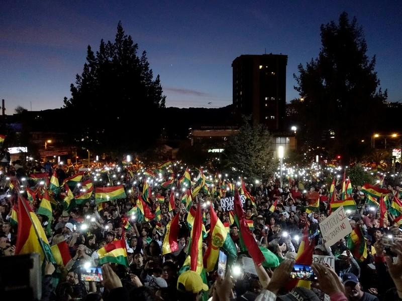 Supporters of Bolivia's former president Carlos Mesa and presidential candidate for Citizen Community attend a rally in La Paz