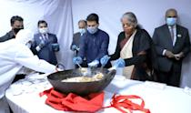 The Union Minister for Finance and Corporate Affairs, Smt. Nirmala Sitharaman at the Halwa ceremony to mark the final stage of the Budget making process for Union Budget 2021-22, in New Delhi on January 23, 2021. The Minister of State for Finance and Corporate Affairs, Shri Anurag Singh Thakur and other dignitaries are also seen.