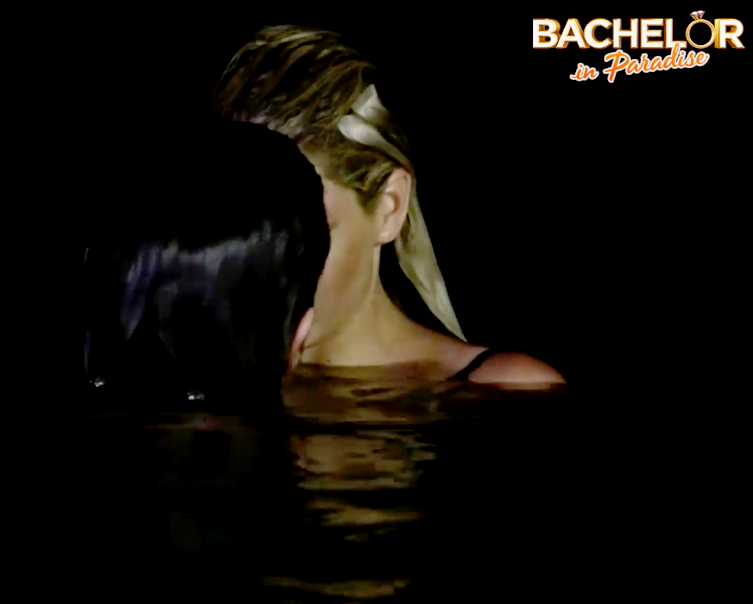 Megan and Thomas Perrera kiss during an episode of Bachelor in Paradise leading fans to believe that she was kissing Elora. Source: Channel 10