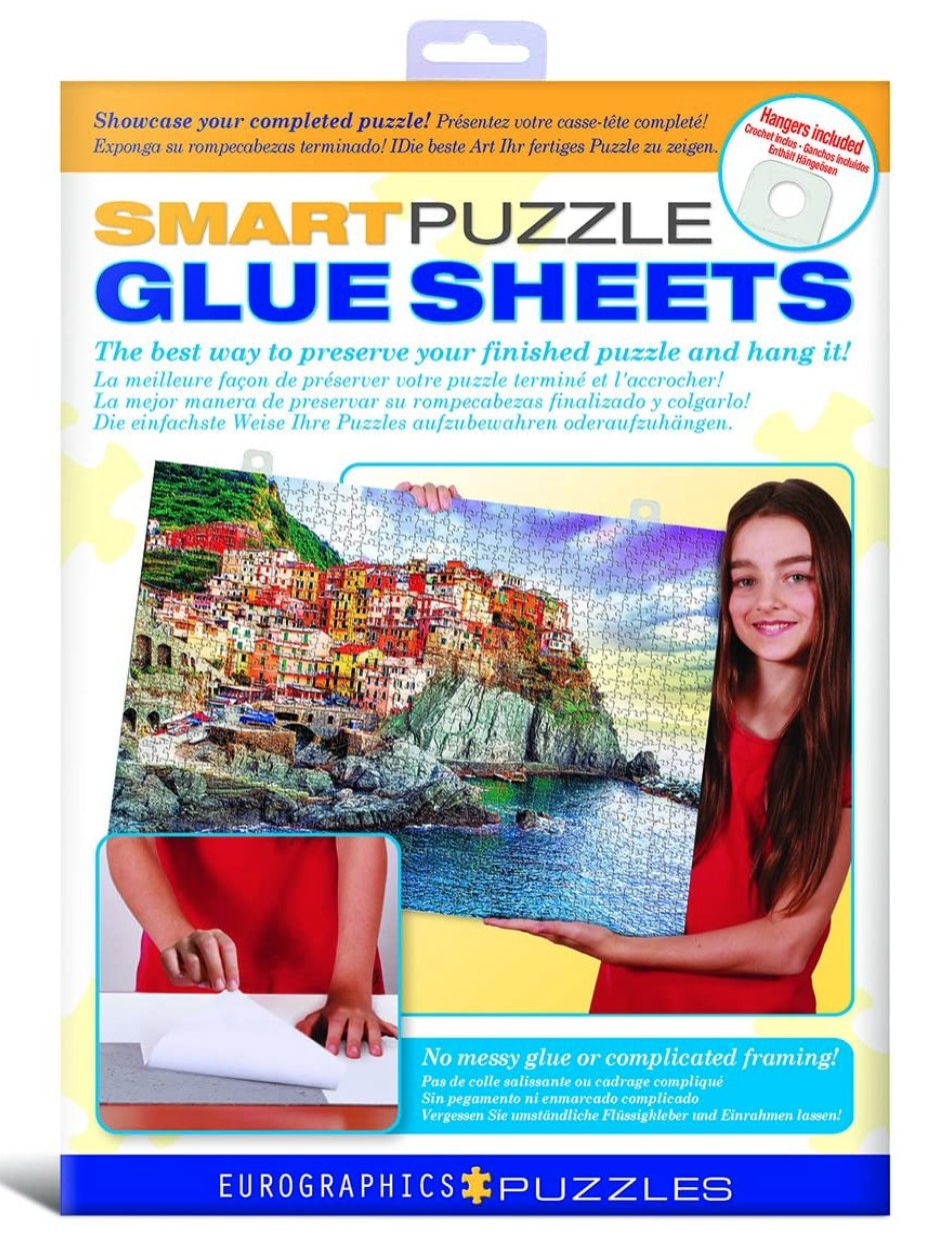 Simply cut your sheet to size and stick your puzzle pieces on this specially-made glue paper.