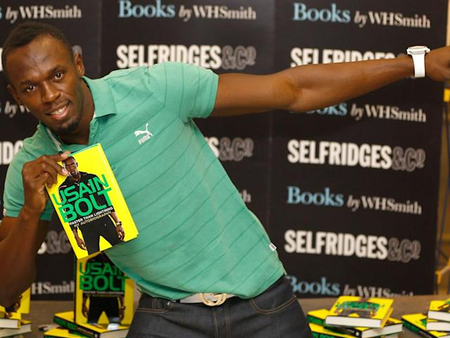 "2013 folgte ein weiteres Buch: ""Usain Bolt – Faster Than Lightning"". Außerdem erschien 2016 der autobiografische Film ""I Am Bolt"". Regie führten Benjamin Turner und Gabe Turner. (Bild-Copyright: Kirsty Wigglesworth/AP Photo)"