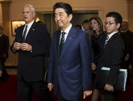 Japanese PM Abe tours the John F. Kennedy Presidential Library with U.S. Ambassador to Japan Schlossberg, in Boston