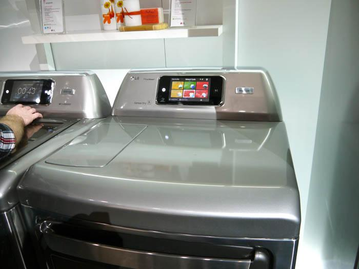 This LG dryer with touchscreen isn't as fancy as the Samsung with Internet connectivity, but it's too sleek to be relegated to the garage. (Scott Ard/Yahoo! News)