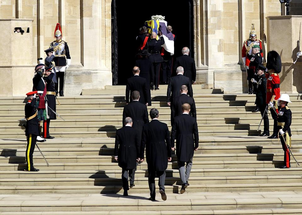 Members of the royal family follow the duke's coffin into St George's ChapelPA Wire