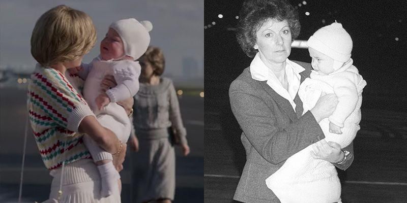 <p>It was unprecedented when Princess Diana brought a baby Prince William on royal tour in 1983. For the significant moment on <em>The Crown</em>, the actor who played William wore the exact same white onesie and knit hat as he did in real life. </p>