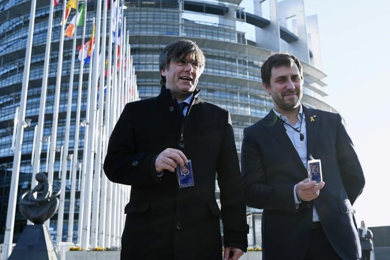 Former Catalan regional president Carles Puigdemont (L) and his former health minister Toni Comin (R) took up their seats in the European Parliament after a European Court of Justice ruling