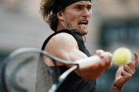 Germany's Alexander Zverev returns the ball to Spain's Alejandro Davidovich Fokina during their quarterfinal match of the French Open tennis tournament at the Roland Garros stadium Tuesday, June 8, 2021 in Paris. (AP Photo/Thibault Camus)