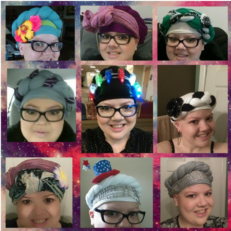 Casey's collection of wild head wraps for cancer treatment. Photo credit: Casey Shank.