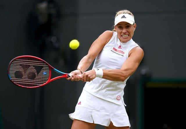 Former Wimbledon champion Angelique Kerber, pictured, awaits Barty in the last four