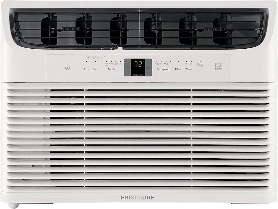 """<p>Cool a room up to 550 square feet with the <span>Frigidaire Energy Star 12000 BTU 115V Window-Mounted Compact Air Conditioner</span> ($389). It also has an """"effortless restart"""" feature that cues the unit to restart with its previous settings in place after the power goes out. </p>"""