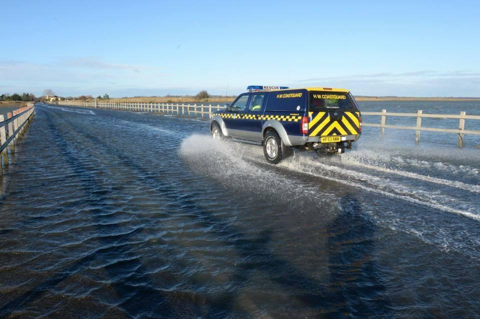 The couple were stranded in rising tide (Picture: West Mersea Coastguard/Facebook)