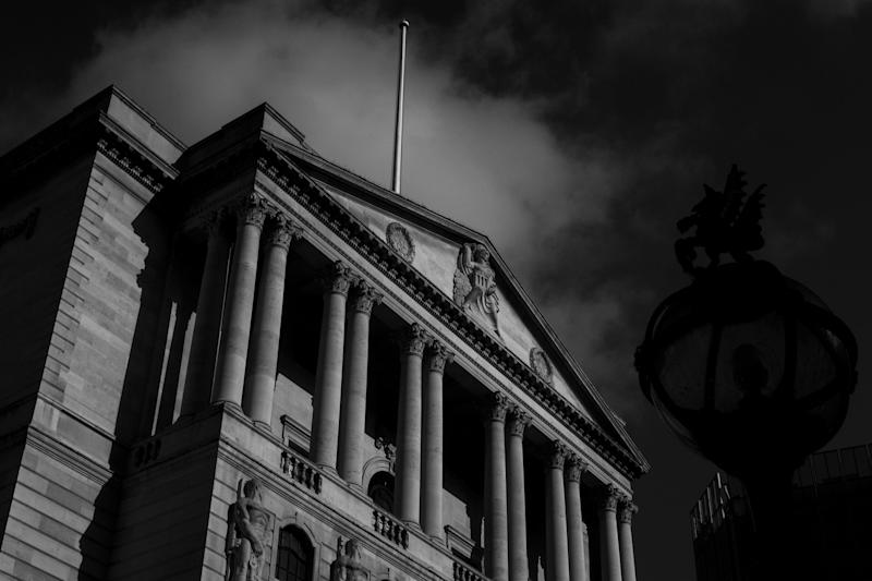 (EDITOR'S NOTE: image has been converted to black and white) General view of the Bank of England, on March 16, 2020 in London, England. Photo: Alberto Pezzali/NurPhoto via Getty Images