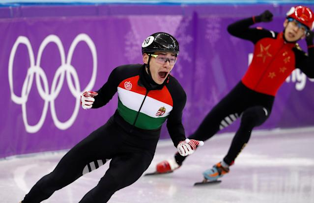 Short Track Speed Skating Events - Pyeongchang 2018 Winter Olympics - Men's 5000m Relay Final - Gangneung Ice Arena - Gangneung, South Korea - February 22, 2018 - Gold medallist Sandor Liu Shaolin of Hungary reacts. REUTERS/Damir Sagolj TPX IMAGES OF THE DAY