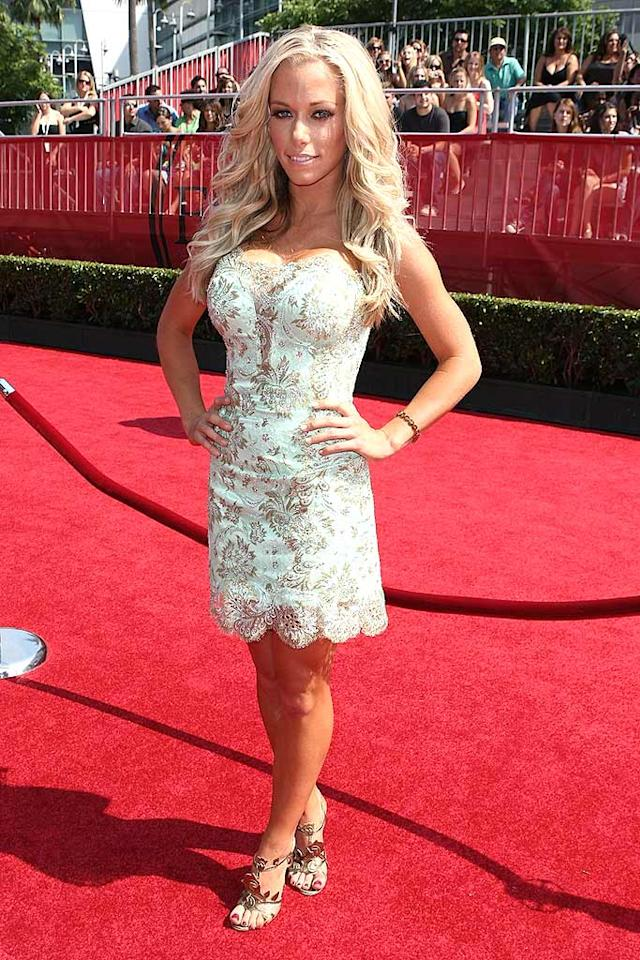 """The Girls Next Door"" star Kendra Wilkinson debuted a corset-style dress that left little to the imagination. All she needed was a pair of bunny ears to complete her look. Alberto E. Rodriguez/<a href=""http://www.gettyimages.com/"" target=""new"">GettyImages.com</a> - July 16, 2008"
