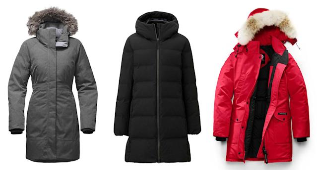 Time to dress for bitter cold! From left, coats from the North Face, Uniqlo, and Canada Goose. (Photos: North Face; Uniqlo; Canada Goose)