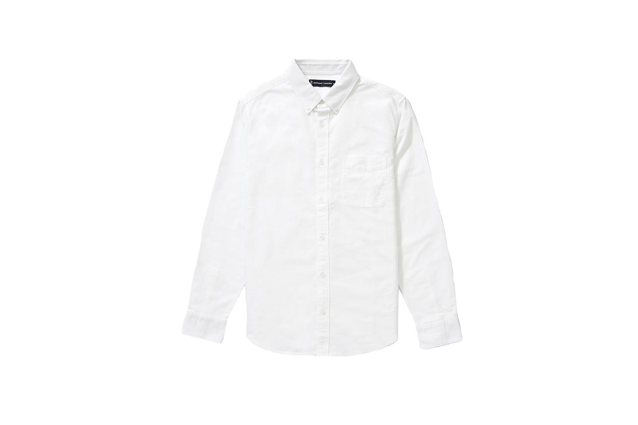 """$58, Everlane. <a href=""""https://www.everlane.com/products/mens-unf-japanese-oxford-standard-shirt-white"""">Get it now!</a>"""