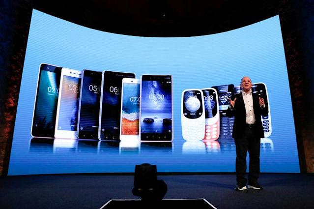 FILE PHOTO: Florian Seiche, Chief Executive Officer of HMD Global, presents new Nokia mobiles during the Mobile World Congress in Barcelona, Spain, February 25, 2018. REUTERS/Yves Herman/File Photo