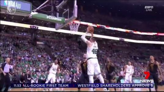 Aussie Aron Baynes and the Celtics are battling King James and his Cavaliers in game five of the western conference finals. The stakes are high in Boston, and Baynes is doing his bit early.