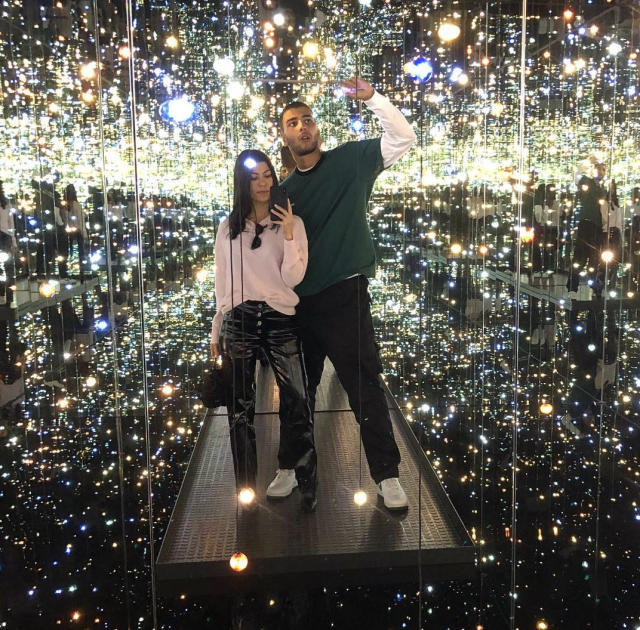 "<p>The eldest Kardashian sister and her beau, Younes Bendjima, headed for the stars, as they spent the day at L.A.'s Broad Museum, checking out the popular ""Yayoi Kusama: Infinity Mirrors"" exhibit. From this pic, captioned only with the male and female astronaut emoji, it looks like their romance is out of this world. (Photo: <a href=""https://www.instagram.com/p/Bc1IwRkD-o1/?taken-by=kourtneykardash"" rel=""nofollow noopener"" target=""_blank"" data-ylk=""slk:Kourtney Kardashian via Instagram"" class=""link rapid-noclick-resp"">Kourtney Kardashian via Instagram</a>) </p>"