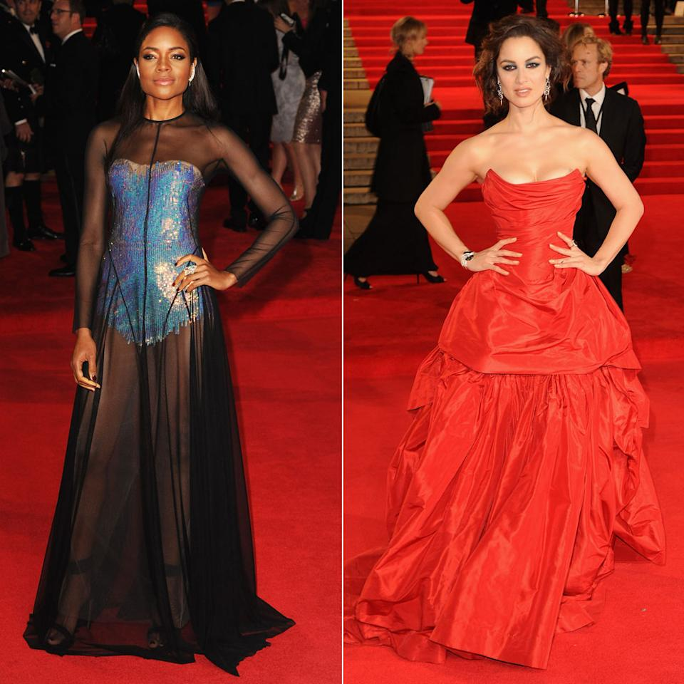 Naomie Harris and Berenice Marlohe attend the  the Royal World Premiere of 'Skyfall' at the Royal Albert Hall on October 23, 2012 in London, England.