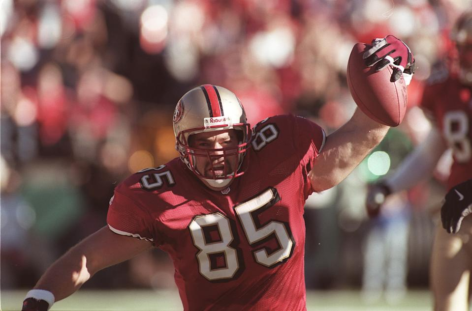 PHOTO BY JIM GENSHEIMER FOR SPORTS. 12/17/00. --NINERS/BEARS-- Niners 85  Greg Clark celebrates a first quarter touchdown. (Digital First Media Group/The Mercury News via Getty Images)