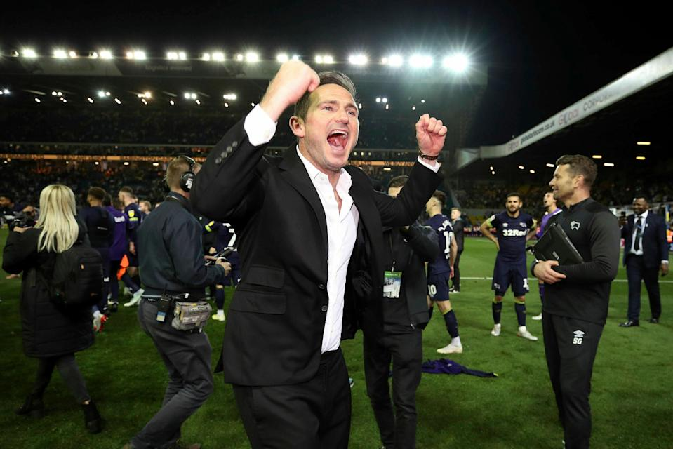 Derby County manager Frank Lampard celebrates after his side beat Leeds United in the Championship play-off semifinals on Wednesday. (Associated Press)