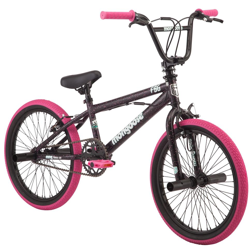 "<p>This <a href=""https://www.popsugar.com/buy/Mongoose-FSG-20-Inch-BMX-Bike-585505?p_name=Mongoose%20FSG%2020-Inch%20BMX%20Bike&retailer=walmart.com&pid=585505&price=88&evar1=moms%3Aus&evar9=47481605&evar98=https%3A%2F%2Fwww.popsugar.com%2Fphoto-gallery%2F47481605%2Fimage%2F47581396%2FMongoose-FSG-20-Inch-BMX-Bike&list1=bikes%2Ckid%20shopping&prop13=api&pdata=1"" rel=""nofollow"" data-shoppable-link=""1"" target=""_blank"" class=""ga-track"" data-ga-category=""Related"" data-ga-label=""https://www.walmart.com/ip/Mongoose-FSG-BMX-Bike-20-inch-wheels-single-speed-black-pink/275155452"" data-ga-action=""In-Line Links"">Mongoose FSG 20-Inch BMX Bike</a> ($88) has the coolest bright pink wheels.</p>"
