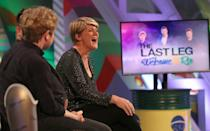 Clare Balding in the studio during a dress rehearsal for television show The Last Leg at the International Broadcast Centre during the Paralympics Games 2016 in Rio.