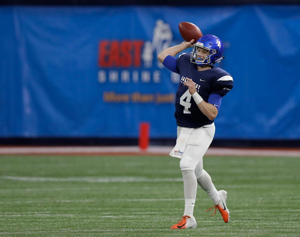 West quarterback Brett Rypien (4), of Boise State, during the first half of the East West Shrine football game Saturday, Jan. 19, 2019, in St. Petersburg, Fla. (AP Photo/Chris O'Meara)