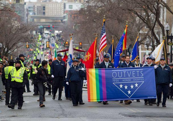 PHOTO: Massachusetts Congressman Seth Moulton marches with OUTVETS, a non-profit that highlights the rights and contributions of LGBTQ veterans, active service members, and their families in Boston, March 15, 2015. (Boston Globe via Getty Images, FILE)