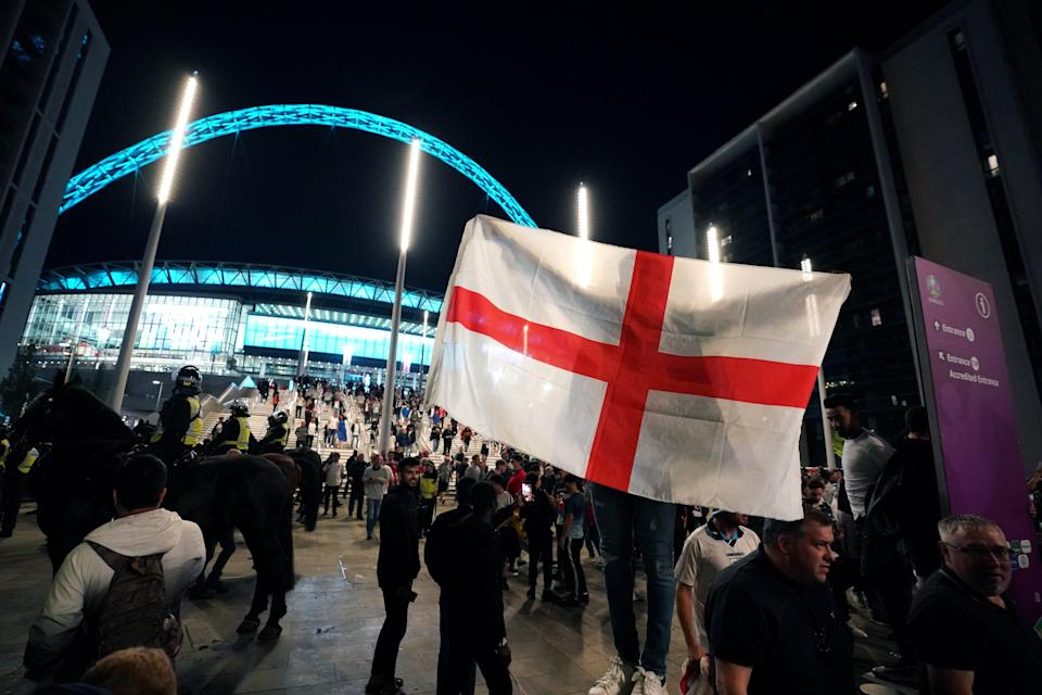England fans outside Wembley Stadium after England qualified for the Euro 2020 final (PA Wire)