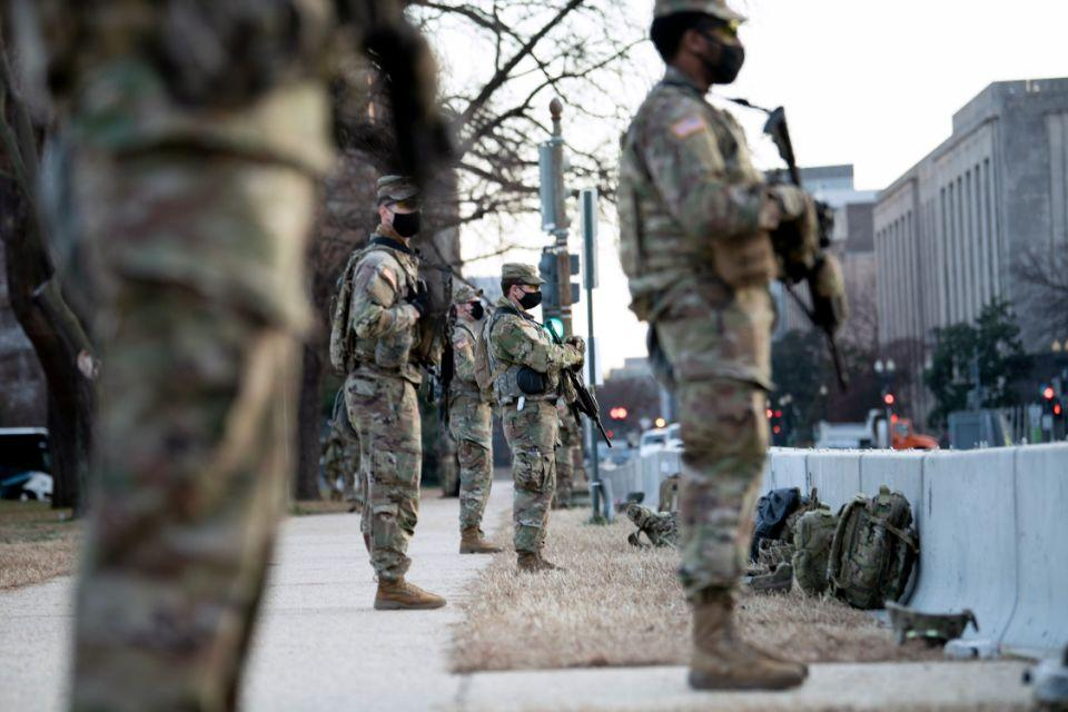 Members of the National Guard are seen guarding Capitol Hill in preparation for the US Presidential Inauguration.
