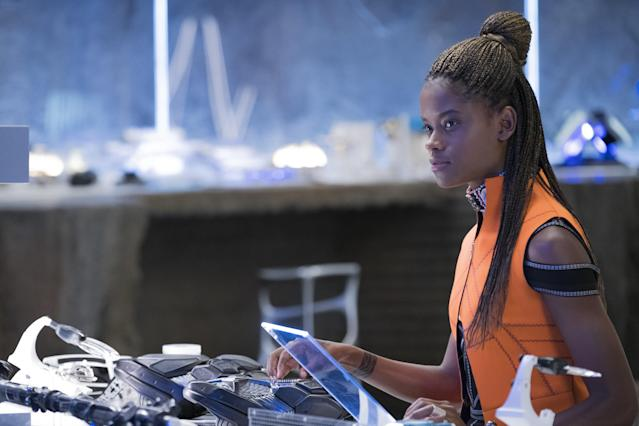 Letitia Wright makes sure her older brother is outfitted with the latest in Wakanda tech. (Photo: Marvel Studios)