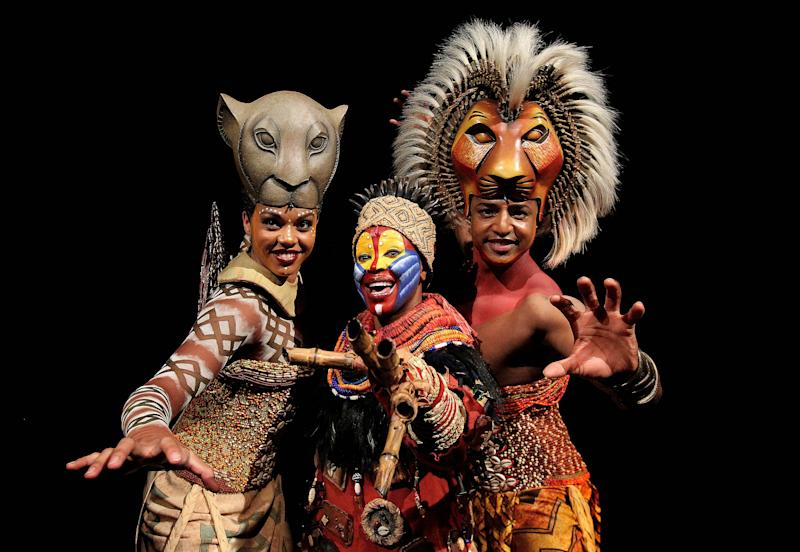 L-R Melina M'Poy (Nala) Gugwana Dlamini (Rafiki) and Johnathan Andrew Hume as (Simba) pictured at the launch of The Lion King musical at the Project arts centre in Dublin. (Photo by Niall Carson/PA Images via Getty Images)