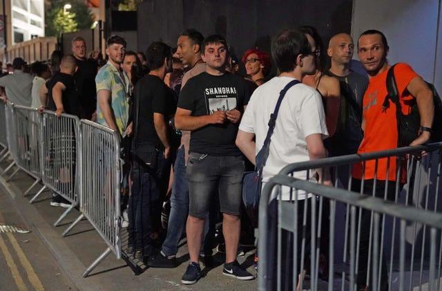 People queue up for the Egg nightclub in London