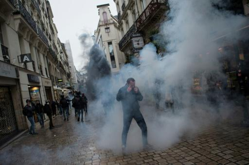 Police fired teargas during protests in Nantes