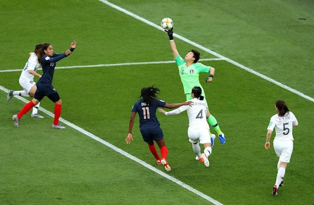 Minjung Kim of Korea Republic reaches for the ball during the 2019 FIFA Women's World Cup France group A match between France and Korea Republic at Parc des Princes on June 07, 2019 in Paris, France. (Photo by Robert Cianflone/Getty Images)