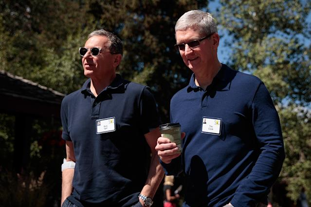 Disney CEO Bob Iger walks with Apple CEO Tim Cook during the annual Allen & Company Sun Valley Conference, July 6, 2016 (Photo by Drew Angerer/Getty Images)