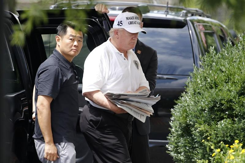President Donald Trump arrives at the White House in Washington, Saturday, Aug. 1, 2020, as he returns from a visit to Trump National Golf Club in Sterling, Va. (AP Photo/Patrick Semansky)