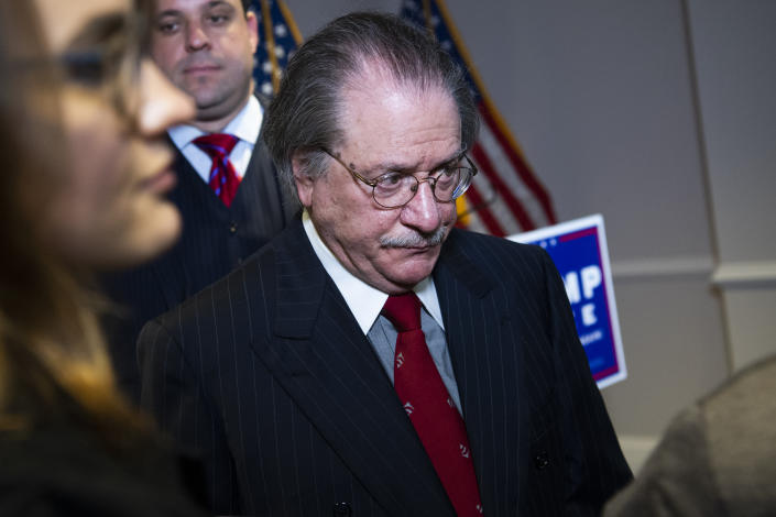 Joseph diGenova, attorney for President Donald Trump, concludes a news conference at the Republican National Committee on lawsuits regarding the outcome of the 2020 presidential election on Thursday, November 19, 2020. (Photo By Tom Williams/CQ-Roll Call, Inc via Getty Images)