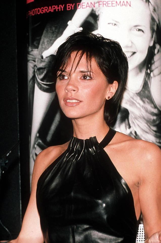 """<p><b>MORE:</b>  <strong><a rel=""""nofollow"""" href=""""http://www.wmagazine.com/gallery/kendall-jenner-beauty-evolution?mbid=synd_yahoobeauty"""">The Beauty Evolution of Kendall Jenner</a></strong></p><p>Beckham wears her brunette pixie with tousled bags and a light contour on the cheekbones with a nude glossy lip at the Spice Girls launch book """"Forever Spice"""" event in London. (1999)</p>"""