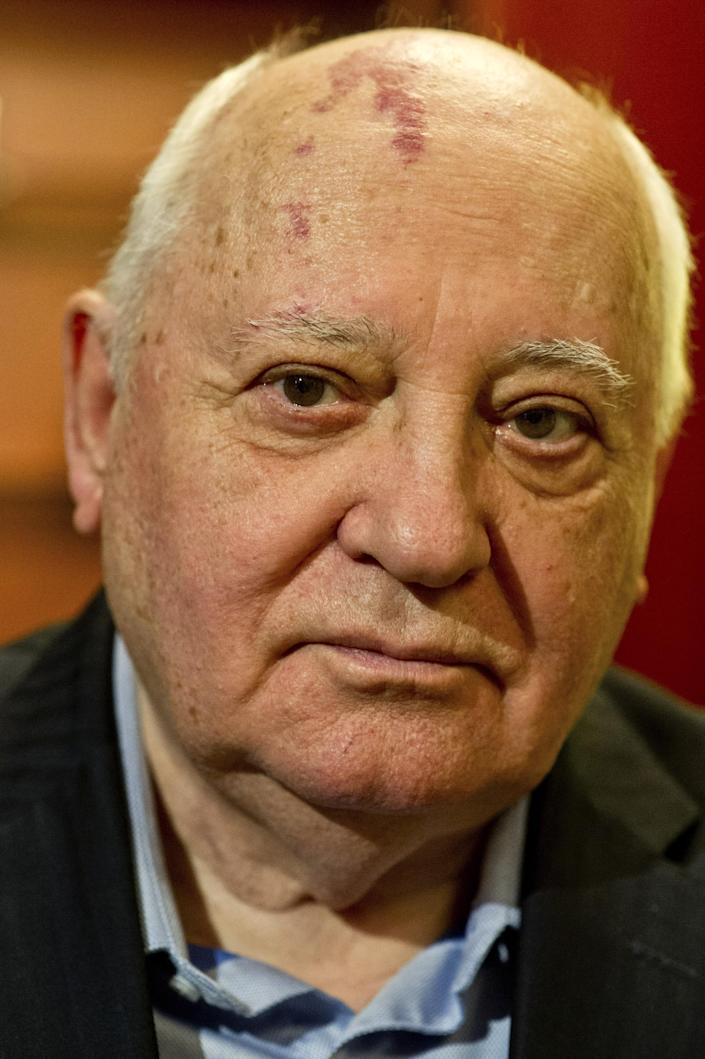 """FILE - In this Monday, Feb. 24, 2014 file photo former Soviet leader Mikhail Gorbachev, 82, gives an interview to The Associated Press at the International Government Communication Forum, in Sharjah, United Arab Emirates. Gorbachev said in remarks carried Tuesday, March 18, 2014, by online newspaper Slon.ru that the vote offered the Crimean residents the freedom of choice and justly reflected their will. Gorbachev hailed Crimea's referendum that backed joining Russia as a """"happy event."""" (AP Photo/Al Moutasim Al Maskery, file)"""