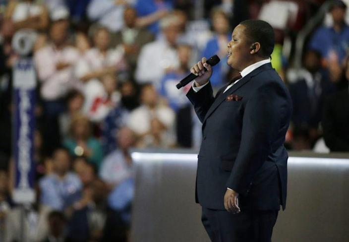 Bobby Hill singing the national anthem Monday at the Democratic National Convention in Philadelphia. (Reuters/Gary Cameron)