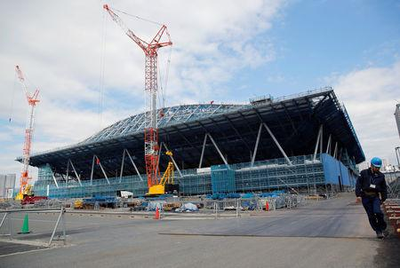 A general view of the construction site of the Ariake Gymnastics Centre for Tokyo 2020 Olympic and Paralympic games in Tokyo