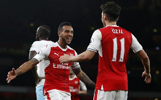 <span>Theo Walcott (L) celebrates making it 2-0 </span>