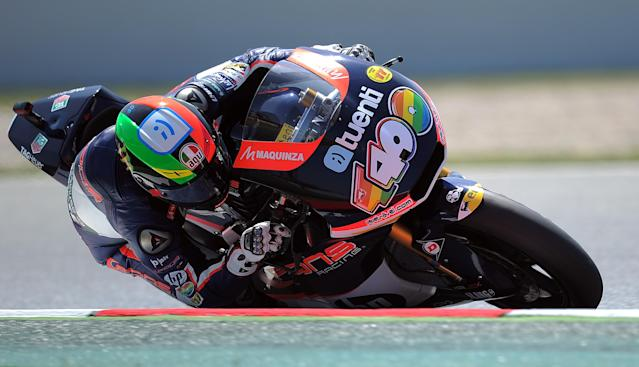Pons 40 HP Tuenti Spanish Pol Espargaro takes a curve at the Catalunya racetrack in Montmelo, near Barcelona, on June 1, 2012, during the Moto 2 second training session of the Catalunya Moto GP Grand Prix. AFP PHOTO/LLUIS GENELLUIS GENE/AFP/GettyImages
