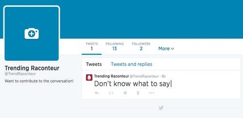 Twitter profile with tweet reading 'Don't know what to say'