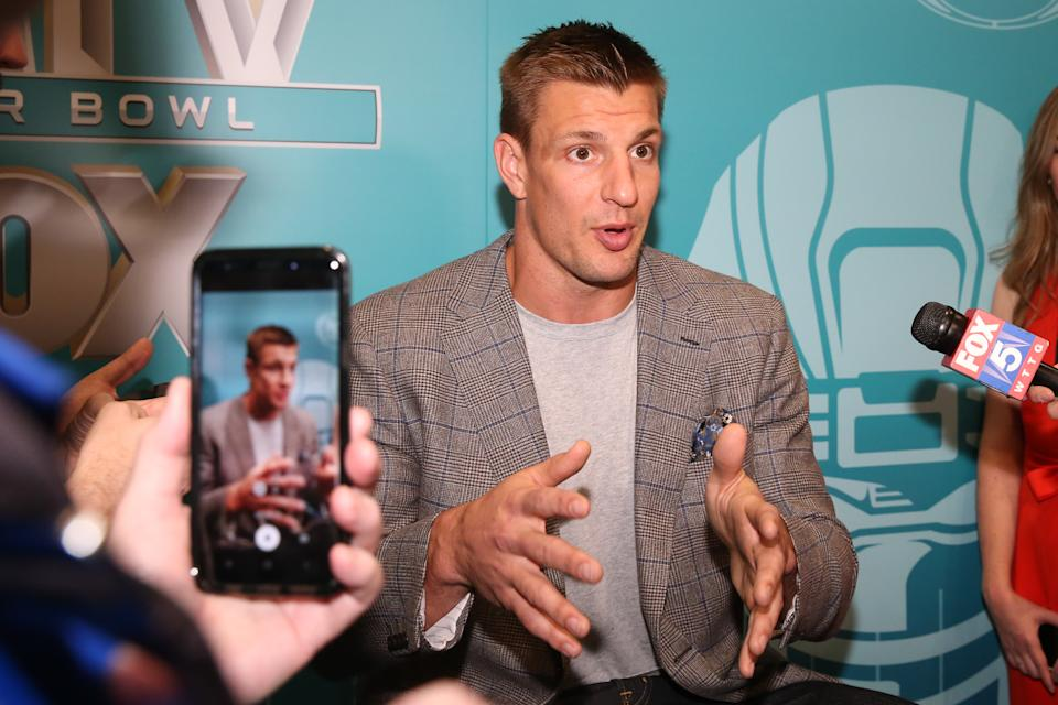 MIAMI BEACH, FL - JANUARY 28:  Former NFL player and NFL Studio Analyst Rob Gronkowski  answers questions during the Super Bowl LIV FOX Sports Media Day on January 28, 2020 at the Miami Beach Convention Center in Miami Beach, FL.  (Photo by Rich Graessle/PPI/Icon Sportswire via Getty Images)