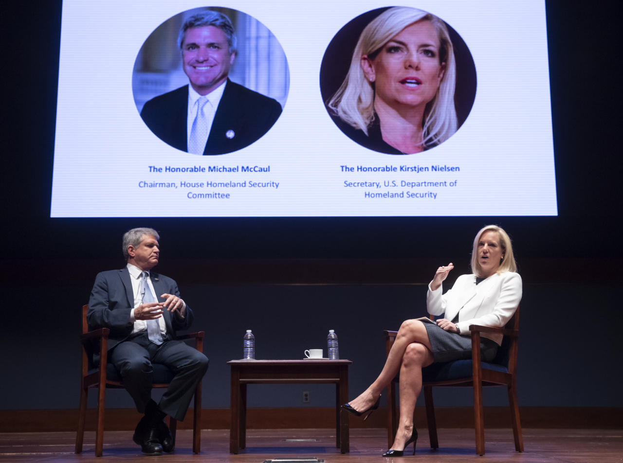 House Homeland Security Committee Chairman Mike McCaul, R-Texas, left, hosts the Capitol Hill National Security Forum with Homeland Security Secretary Kirstjen Nielsen, at the Capitol in Washington, Thursday, June 21, 2018. Topics covered border security as well as cybersecurity and American elections. (AP Photo/J. Scott Applewhite)