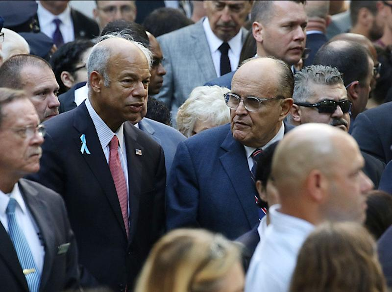 Former Secretary of Homeland Security Jeh Johnson and former NY City Mayor Rudy Giuliani at the 911 Commemoration Ceremony honoring and remembering those who died. This took place at the 18th anniversary of the attacks on the World Trade Center, the Pentagon and Shanksville, Pa. Today's ceremonies took place in Manhattan, New York on September 11, 2019.